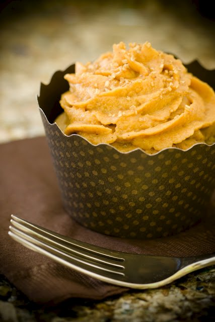 Apple Cobbler Cupcakes with Pumpkin Pie Frosting