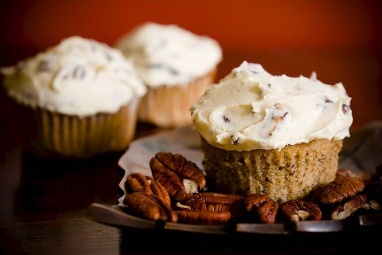 Maple Pecan Cupcakes with Butter Pecan Buttercream Frosting