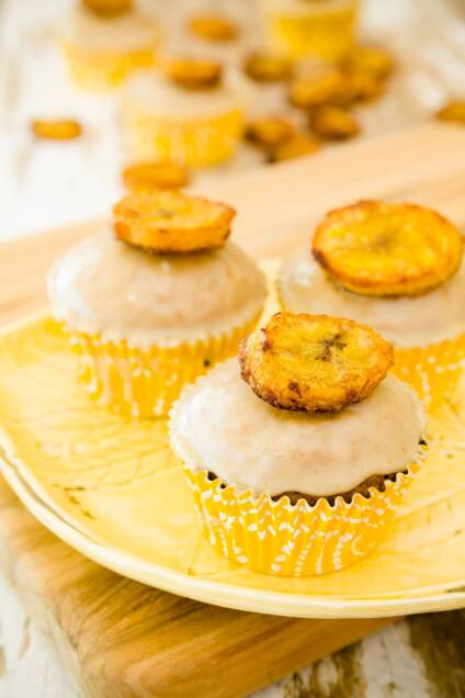Plantain Cupcakes – A Latin-Inspired Cross Between Bananas Foster and Coffee Cake
