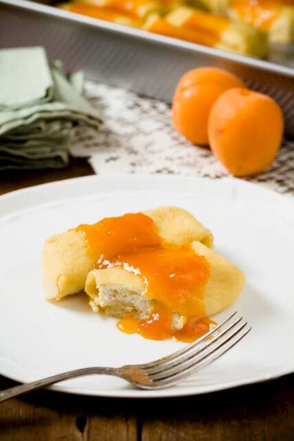 Cheese Blintzes With Apricot Lemon Quick Jam