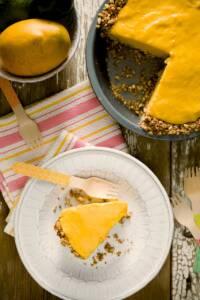 Frozen Mango Margarita Pie with a Pretzel Crust
