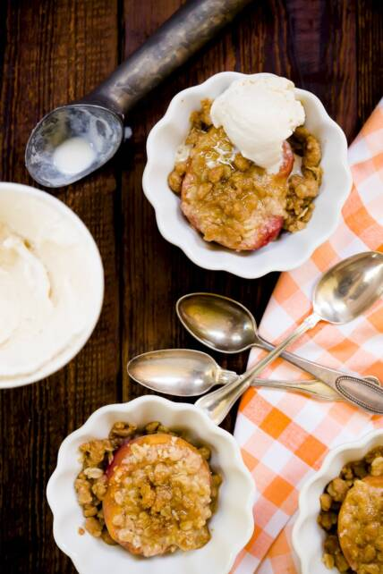 Simple Stuffed Peach Crumble