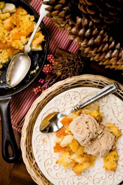 Skillet Cornbread Apple Cobbler