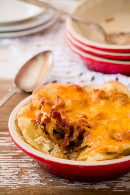 Pierogi Pie is a Cross Between Loaded Baked Potatoes and Mac n' Cheese