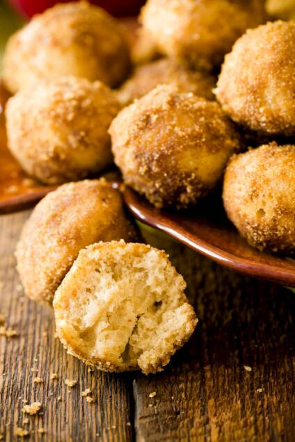 Baked Spiced Apple Cider Donut Holes Made with Brown Sugar