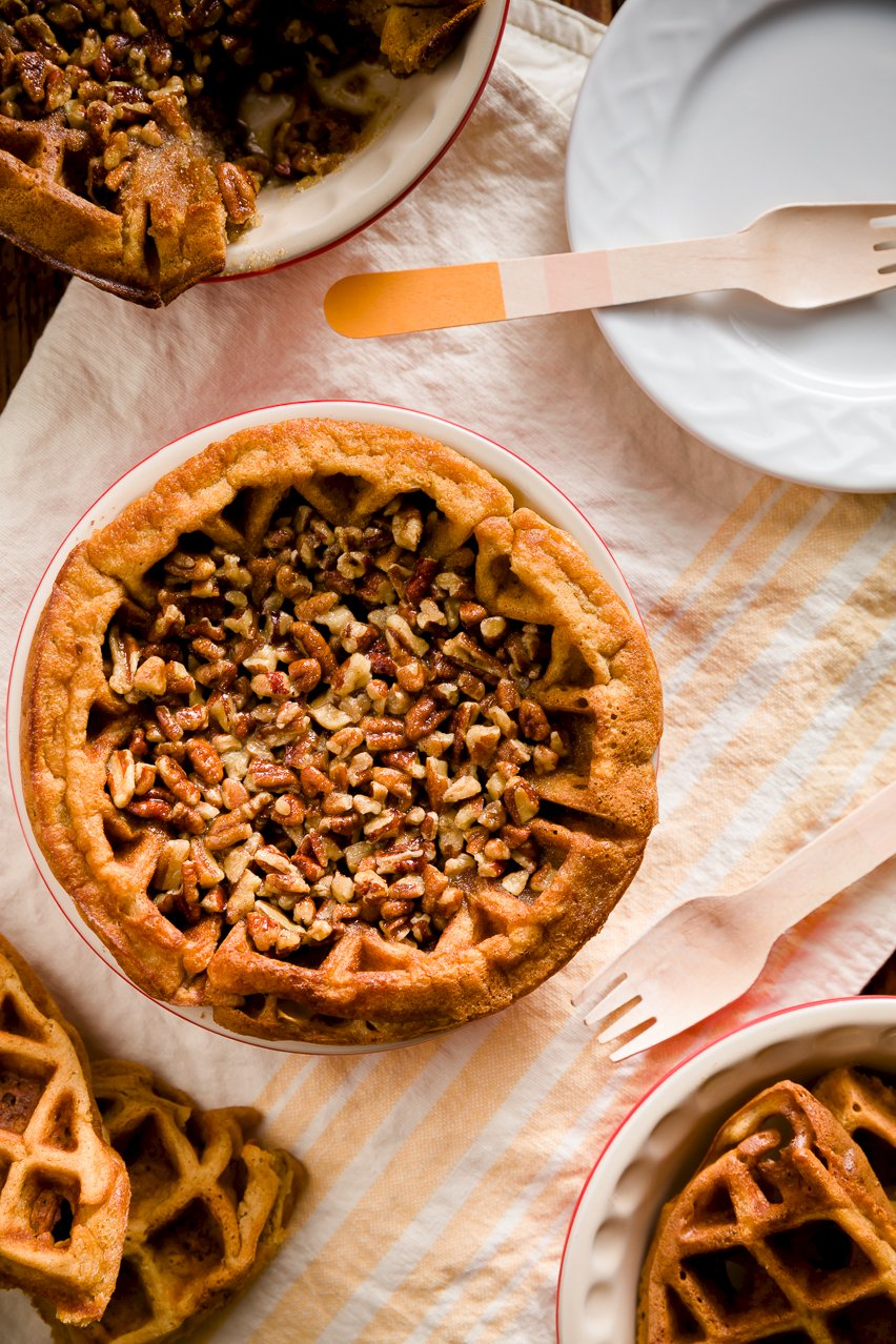 Pecan Pie with Brown Sugar Waffle Crust