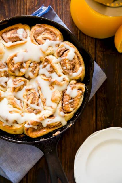 Cherry-Glazed Chocolate Almond Cinnamon Rolls