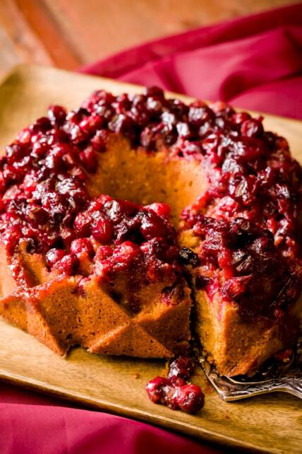 Cranberry Almond Cornmeal Bundt Cake