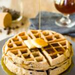 Belgian beer waffles with melted butter and syrup