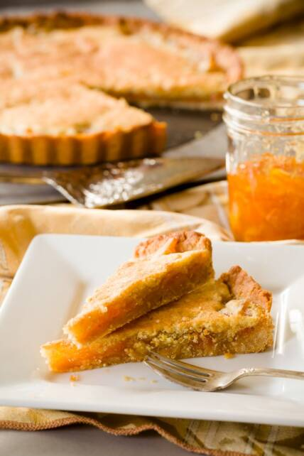 Orange Marmalade Bakewell Tart with Salted Honey Crust