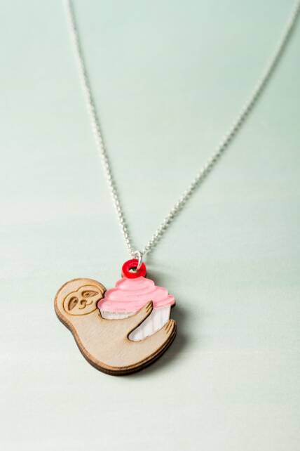 Cupcake and Sloth Necklace