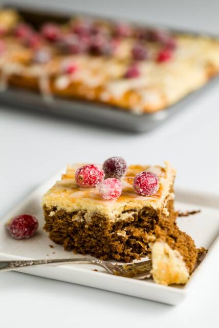 Cheesecake-Topped Holiday Gingerbread