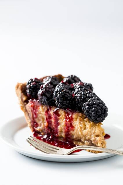 Honey-Sweetened Blackberry Buttermilk Potato Pie With a Cornmeal Crust