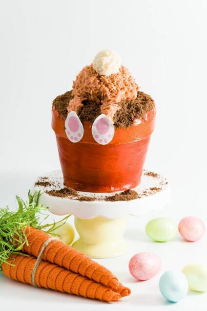Easter Bunny Butt Flower Pot Cake