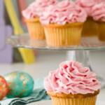 Cupcakes Topped with Raspberry Frosting